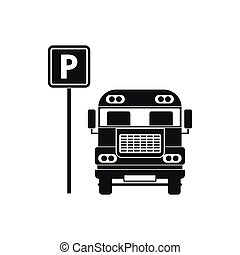 Parking sign and bus icon, simple style