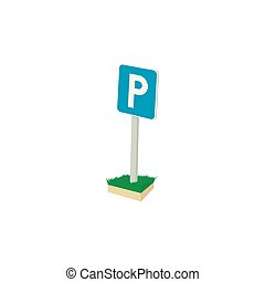 Parking sign icon, cartoon style