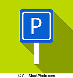 Parking sign icon, flat style