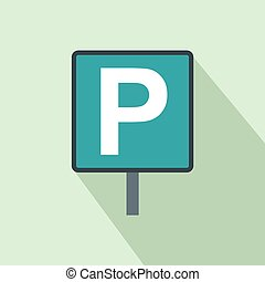 Parking sign icon in flat style