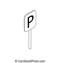 Parking sign icon, isometric 3d style