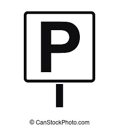 Parking sign icon, simple style