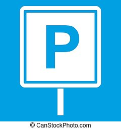Parking sign icon white