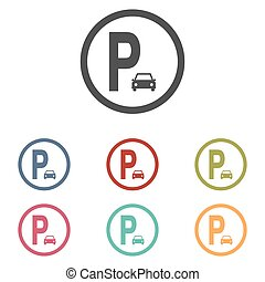 Parking sign icons set