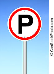 Parking sign over a sky