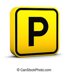 Parking Sign - Parking sign on a white background. Part of a...