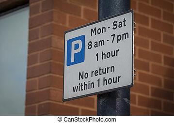 Parking sign - Parking restriction sign, UK.