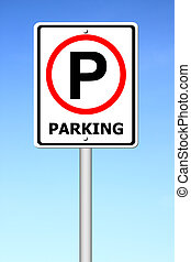 parking sign with a sky