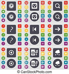 Parking, Socket, Magnifying glass, Question mark, Media skip, Arrow right, Arrow down, Speaker, Cloud icon symbol. A large set of flat, colored buttons for your design. Vector
