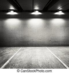Parking - Empty parking lot wall. Urban, industrial...