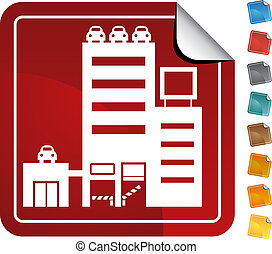 Parking Structure Sticker - Red parking structure building...