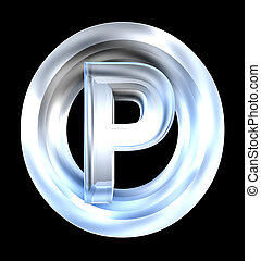 parking symbol in glass (3d)