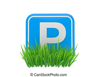 Parking symbol on grass