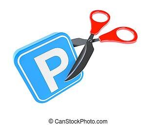 Parking symbol with scissors