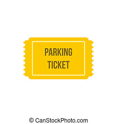 Parking ticket icon, flat style