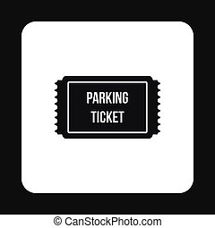 Parking ticket icon, simple style