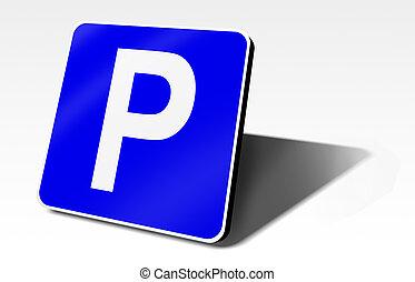 parking traffic sign, 3d illustration