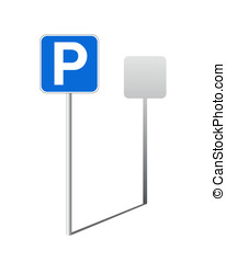 Parking traffic sign - Traffic sign of parking with a shade