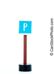 parking traffic sign isolated on white background with copy space for text