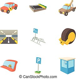 Parking transport icons set, cartoon style