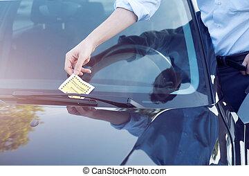 Parking violation ticket fine on windshield