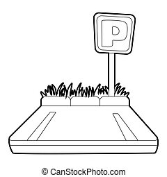 Parking zone icon, isometric 3d style - Parking zone icon. ...