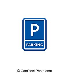 Parking zone roadsign isolated on white background