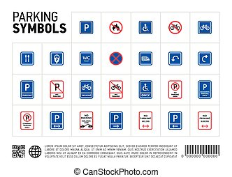 Parking zone sign isolated icon set