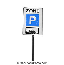 Parking zone sign isolated on white