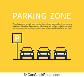 Parking zone sign with car black silhouette icons. City parking lot vector concept