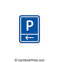 Parking zone to left roadsign isolated