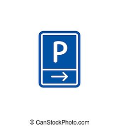 Parking zone to right roadsign isolated