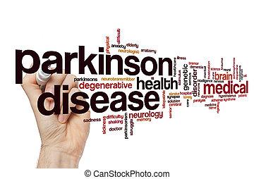 parkinson, concept, mot, maladie, nuage