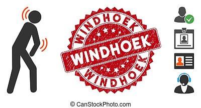 parkinson, windhoek, selo, doença, ícone, arranhado