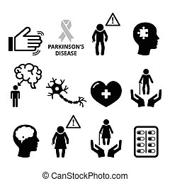 Parkinson's disease, senior's healt - Vector icons set of...