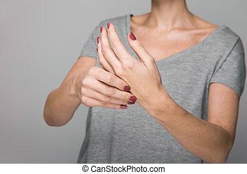 Parkinson's disease symptoms. Close up of tremor shaking...