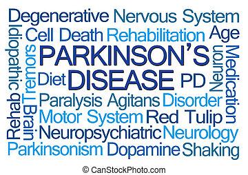 parkinson's, ziekte, woord, wolk