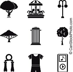 Parkland icons set. Simple set of 9 parkland vector icons for web isolated on white background