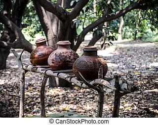 parkland, naturel, argila, feito à mão, exterior, indianas,...