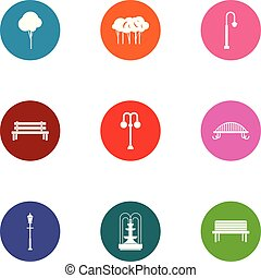 Parkland space icons set. Flat set of 9 parkland space vector icons for web isolated on white background