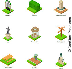 Parkland statue icons set. Isometric set of 9 parkland statue vector icons for web isolated on white background