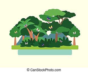 parkosít., ábra, tropikus, vektor, zöld erdő