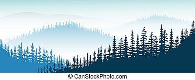 parkosít., köd, félhomály, távoli, dombok, völgy, erdő, bitófák, köd, hegyek, fenyő, hegy
