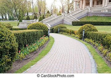 parkosít., műkertészeti, liget, kert, parkosít