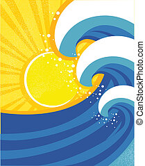 parkosít., poster., ábra, vektor, tenger, lenget