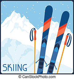 parkosít., tél, hegy, felszerelés, háttér, síelés