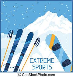 parkosít., tél, hegy, sport, háttér, extrém