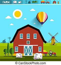 parkosít., tanya, concept., istálló, vektor, traktor, mills., vidéki, gazdálkodás, mezőgazdaság, lidércek, felteker, design.