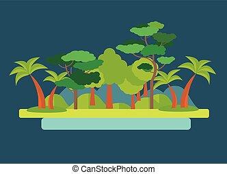 parkosít., vektor, zöld erdő, ábra