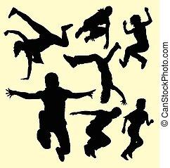 parkour, addestramento, sport, silhouette